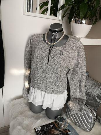 sweter Sweterek bluzka z baskinką dzianina melanż 30 40 falbanki