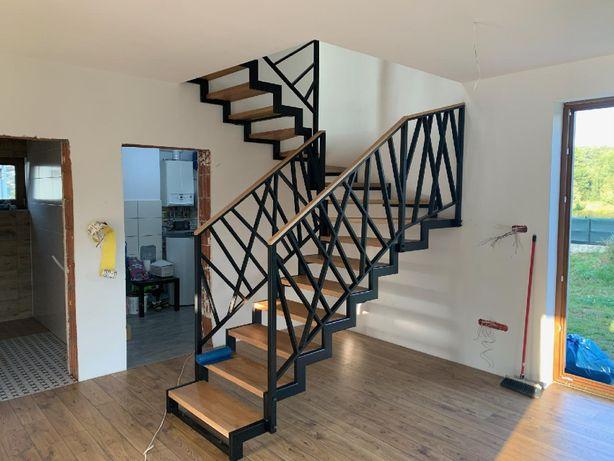 Schody metalowe wewnętrzne .loft, schody drewniane