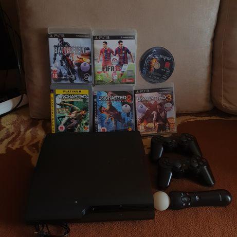 Konsola PS3+gry+2pady+okablowanie