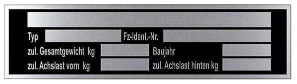Tabliczka znamionowa aluminium j. niemiecki