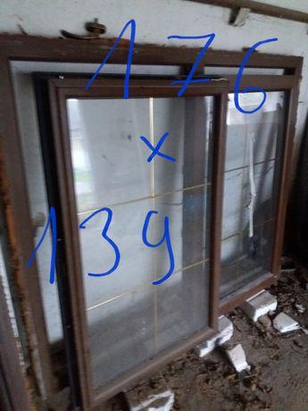 Okno plastikowe  orzech  dwuskrzydłowe i lazienkowe