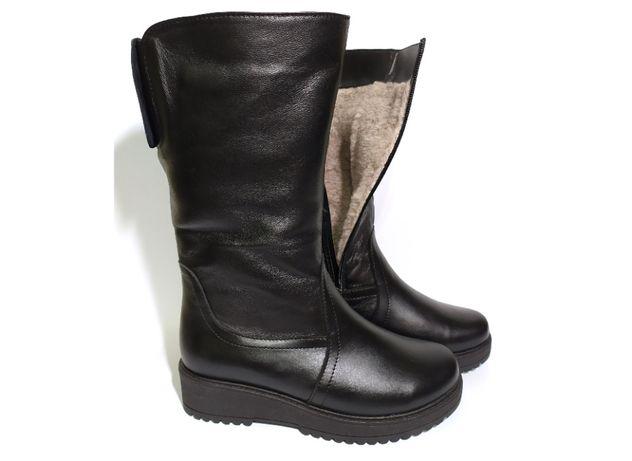Женские сапоги на полную ногу зимние кожаные