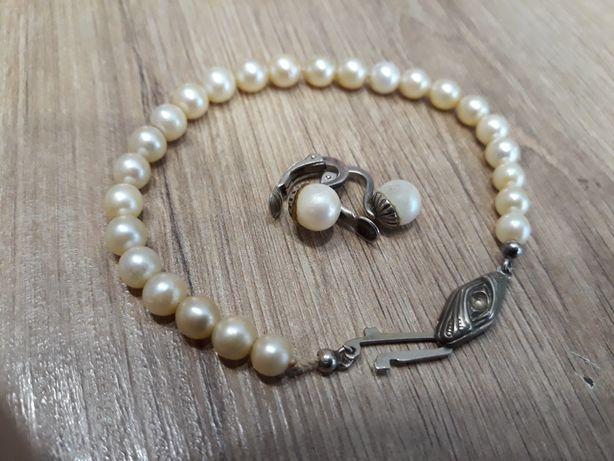 Komplet srebrny.Bransoletka perly + srebro z klipsami ( srebro- perly)