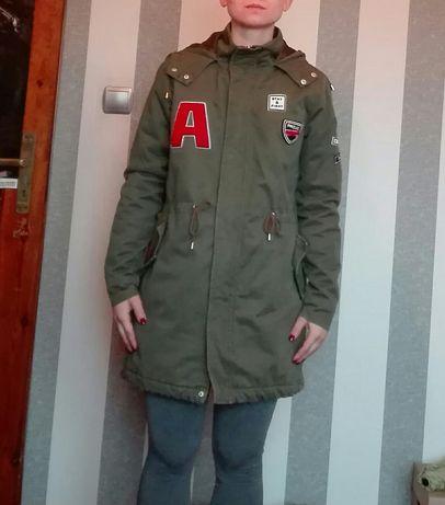 Sinsay rozm. S 36 khaki parka kurtka płaszcz militarna naszywki rock