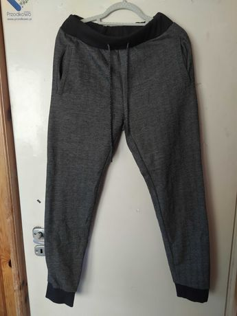 Spodnie męskie joggery czarno białe ciepłe XL