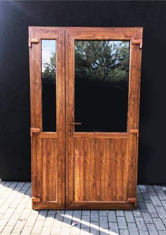 WZMOCNIONE Drzwi zewnętrzne wejściowe PCV kolor złoty dąb 180x210