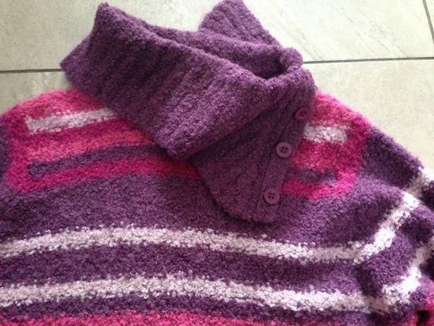 Sweter golf bucla róż wrzos fiolet M-L