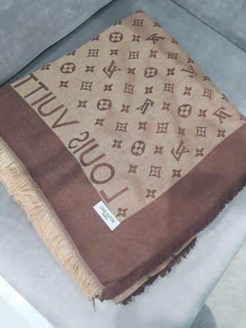 Grafit szary jedwab kaszmir chusta Louis Vuitton monogram 140x140 szal