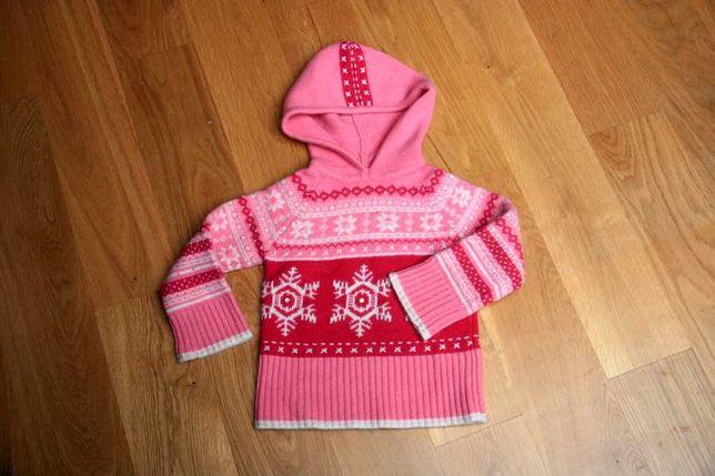 Wełniany różowy sweterek Monsoon z kapturem - angora 4-6 lat r. 110