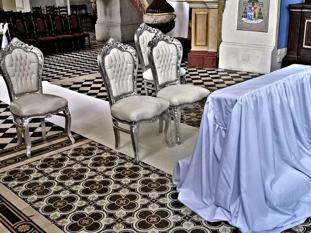 Wynajem ! Białe Krzesła do Kościoła + Biały Dywan