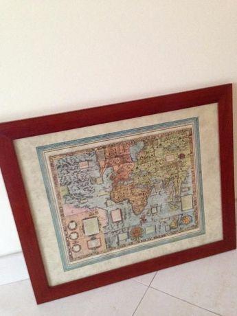 gravura de carta de navegação mapa mundi