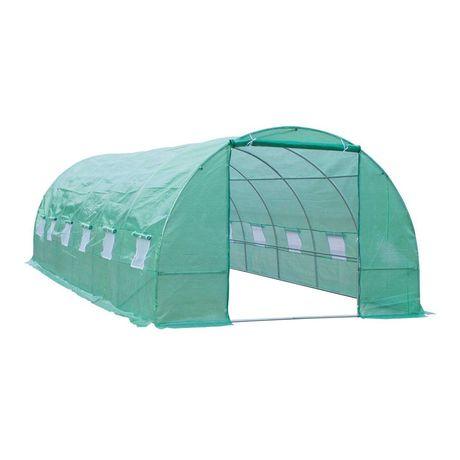 Estufa para Terraço ou Jardim - Cor Verde - Aço Polietileno - 8x3x2 m