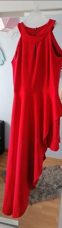 Sukienka mini z dłuższym bokiem a'la tren - Bird