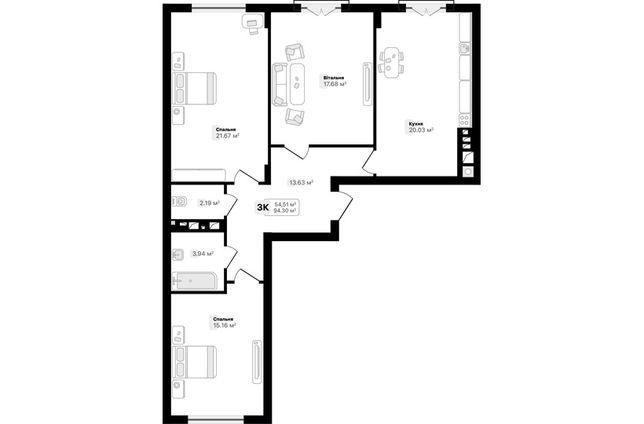 3 кімнатна квартира (94м2) вул. Під Голоско (№92,97)