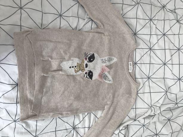 Sweterek H&M dla dziewczynki 8-10 lat 140 nie używany bez metki