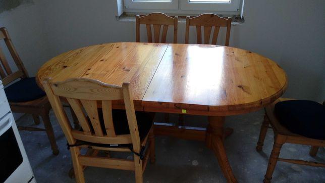 stół sosnowy z krzesłami