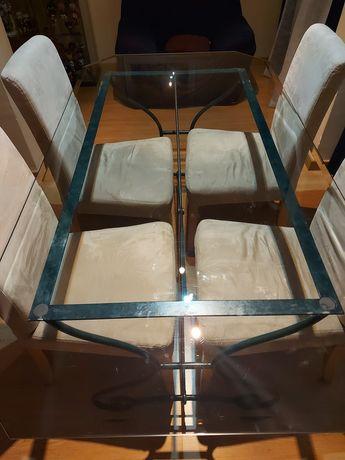 Mesa de sala (ferro com tampo de vidro)