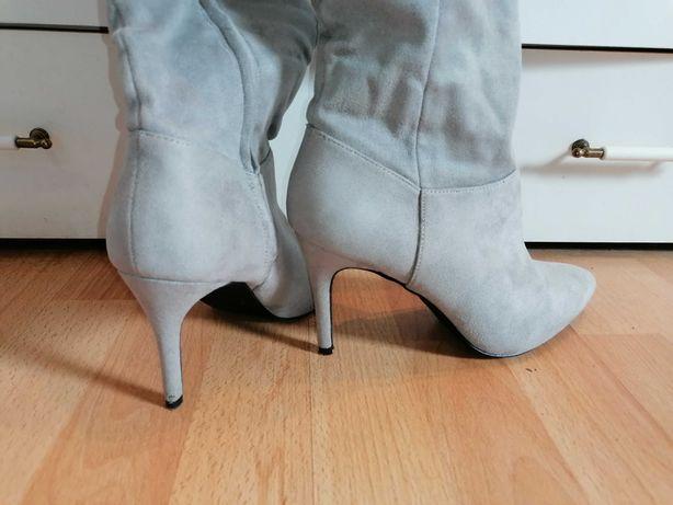 Szare muszkieterki za kolano, New Look, rozmiar 39, jak nowe