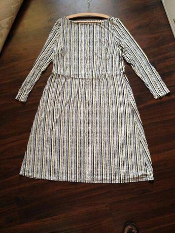 Sukienka z dlugim rekawem we wzory pasy paski marynarska 44 46 xxl