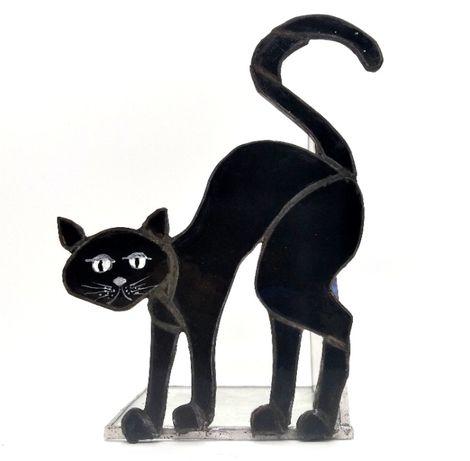 Ozdoba Czarny Kot Wiedźmy Halloween witraż rękodzieło