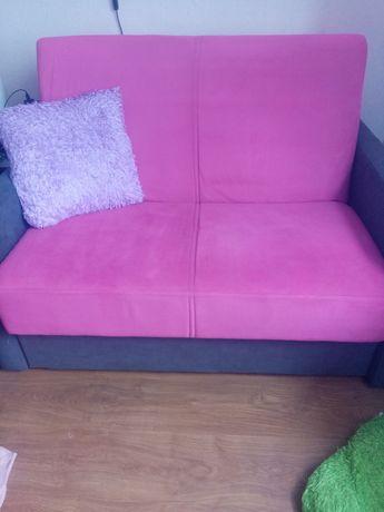 Fotel rozkładany sofa 2 osobowa różowa