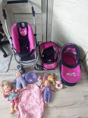 Wózek dla lalek 3w1 jakość Bayer Chic 2000 lalki bobasy duży zestaw