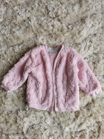 Sweterek, pudrowy róż, rozpinany, rozmiar 80
