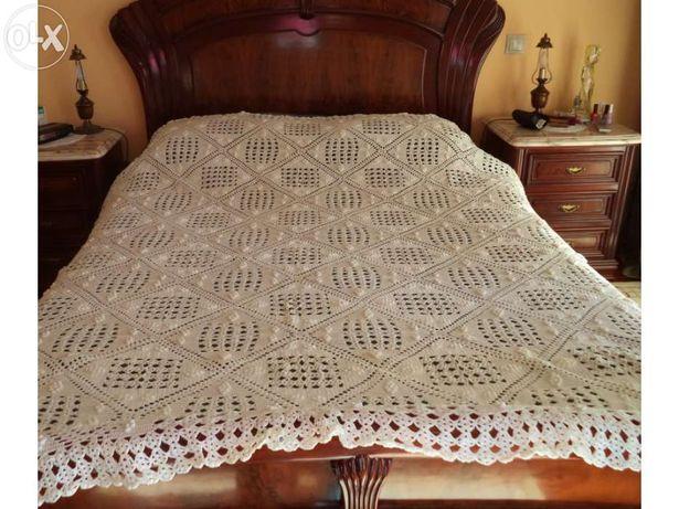 Colcha/Coberta de renda para cama de casal feita à mão com algodão de