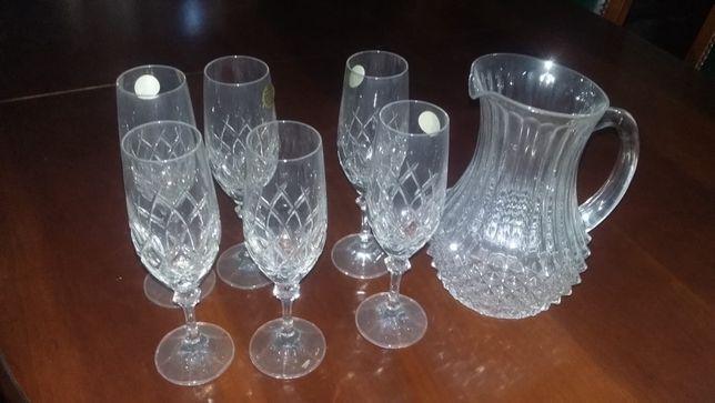 Jarra e 6 copos - Cristal Boemia(Liquidacao)