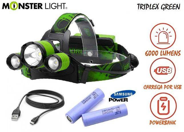 Kit lanterna cabeça MonsteLight Triplex-Green 6000 lumens