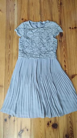 Plisowana sukienka koronkowa H&M