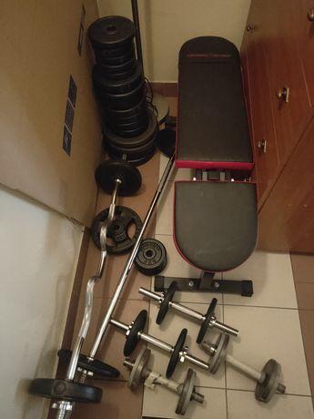 Domowa siłownia, ławeczka fitness, 100kg obciążenie, gryf, hantle