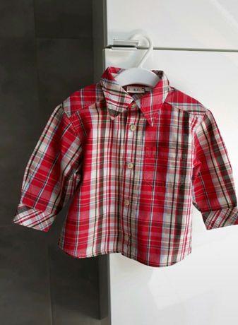 Koszula krata 86 jak nowa na święta kratka czerwona z długim rękawem