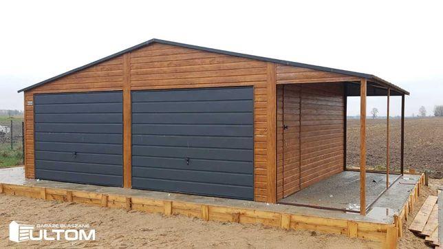 Garaż drewnopodobny z boczną wiatą blaszak konstrukcja profil