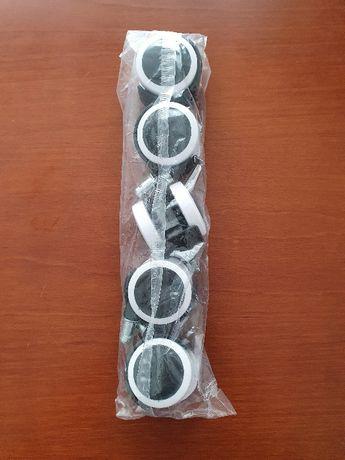 Kółka czarno-białe do fotela obrotowego 5 sztuk komplet