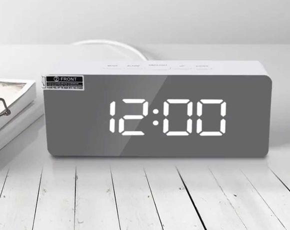 Lustrzany Zegar Cyfrowy Elektroniczny Led / Budzik / Termometr