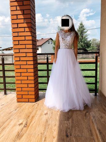 Sukienka śluba xs/s, biała, bogato zdobiona 34/36