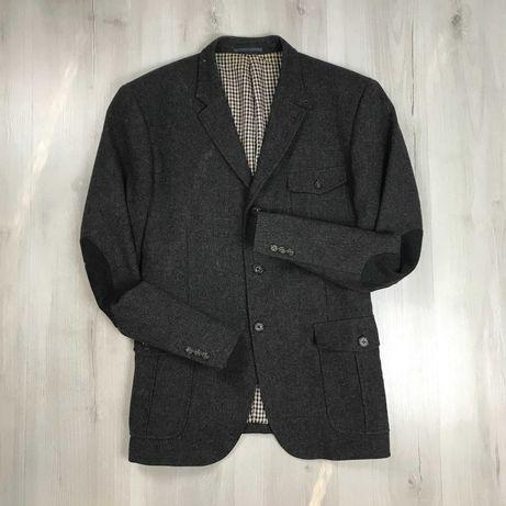 Пиджак приталенный темно-серый клетчатый Next с нашивками на локтях