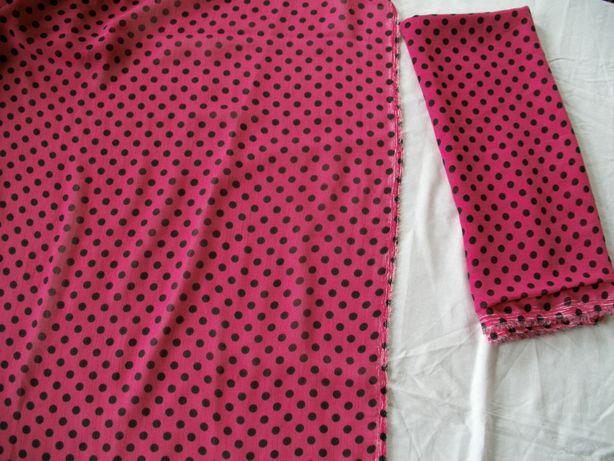 шифон розовый в черные горошки
