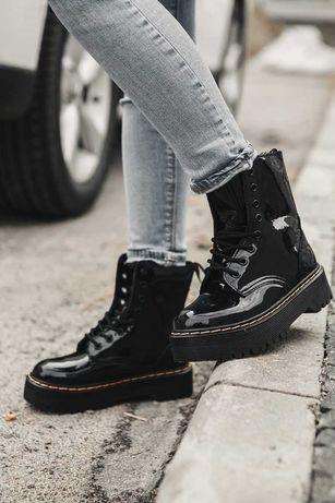 Женские ботинки Dr Martens Jadone Patent Black/ Лакированная кожа