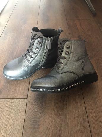Модні срібні/серебо ботинки черевики полусапоги