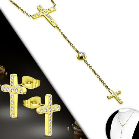 Komplet zestaw biżuterii złoty stal chirurgiczna krzyżyk cyrkonie ZS63