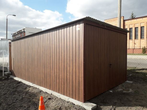 Garaże blaszne drewnopodobne orzech 3x5