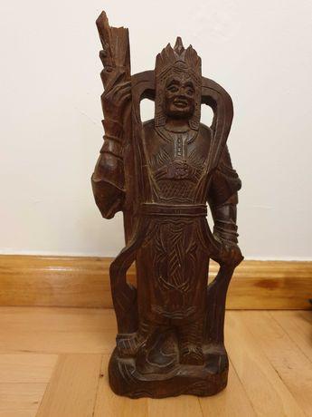 Rzeźba wojownik chiński Azja, drewno tekowe