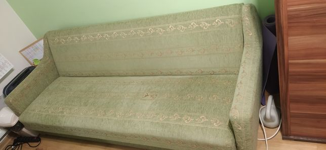 Wersalka Kanapa rozkładana + 2 fotele zielona