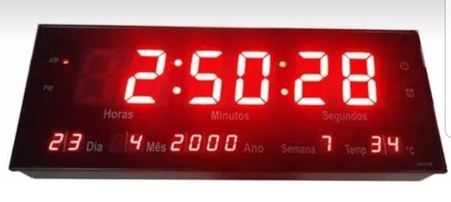 Relógio de parede digital led termômetro calendário