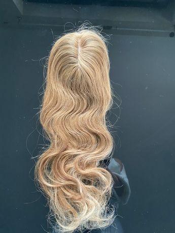 Uzupełnienie włosy naturalne tupet pół peruka treska lace wig 50cm