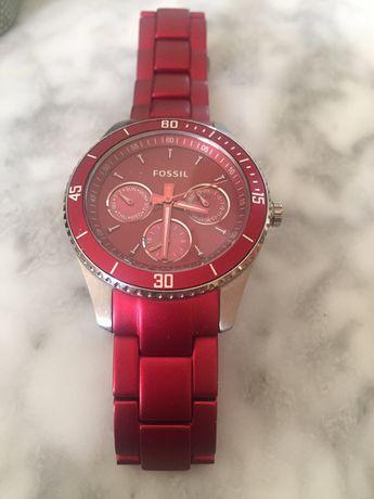 Часы Fossil,новые,корпус-нержавеющая сталь с красным покрытием