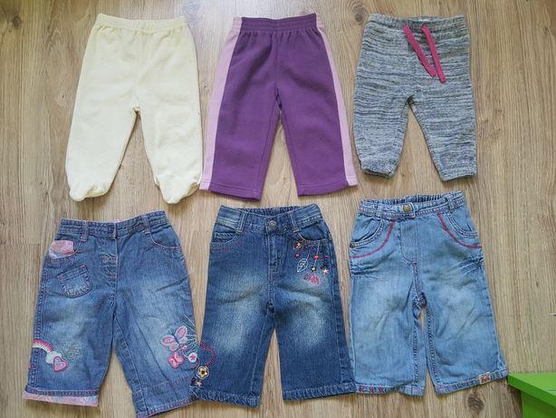 Spodnie jeansowe dresowe półśpiochy polarkowe jeansowe r.68 żółte