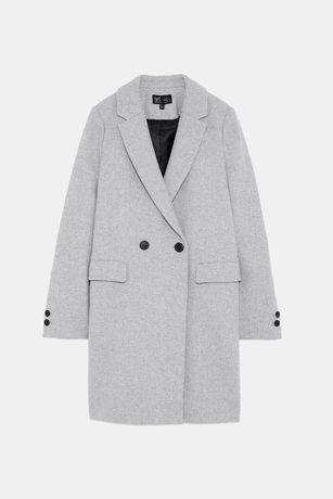 ZARA nowy klasyczny płaszcz o męskim kroju jasnoszary popielaty M 38